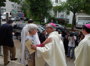 Bishop Emeritus Ricardo Ramirez greets a well-wisher after Mass. Courtesy of USCCB Migration & Refugee Services.