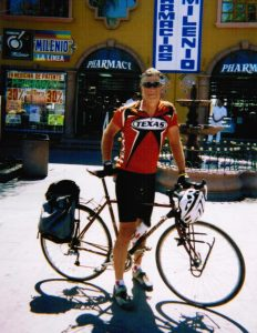 West, in Tijuana, 2005, after cycling 1,700 miles to raise awareness about border issues.