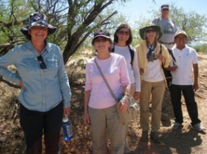 Agnes (right foreground) on a desert walk with the KBI in 2013.