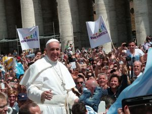 Pope Francis among the people of St. Peter's Square in Rome, May 2013. Public domain image from Wiki Commons, photo by Edgar Jiménez.