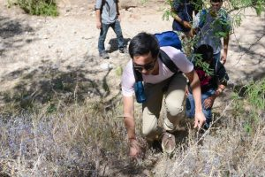 Matthew Kim and other Bellarmine students walk in the migrants' footsteps on a hike through the desert near Nogales. Photo by Ryan Demo.