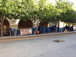 "A creative way to spur donations: The students of Brophy College Preparatory in Phoenix either wore jeans on Halloween or brought a pair to donate to the KBI for their ""Boo Jean"" campaign. Photo from Brophy College Preparatory."