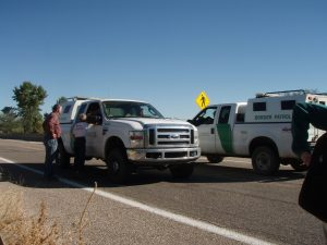 Immersion participants encounter the U.S. Border Patrol. Photo by Tricia Lothschutz.
