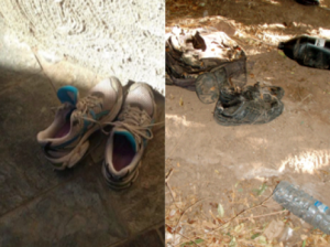 Tricia's walking shoes and those left behind on the camino by a migrant. Photos by Tricia Lothschutz.