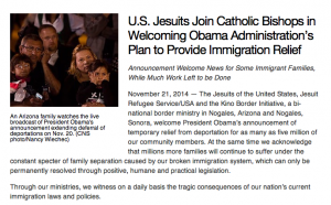 U.S. Jesuits Join Catholic Bishops in Welcoming Obama Administration's Plan to Provide Immigration Relief