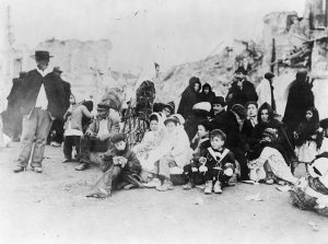 Survivors of the 1908 Messina earthquake, Sicily, circa 1909. Public domain image from the Library of Congress.