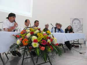 The panel participants included (from left to right) César López, a member of the Border Justice Collective of Ambos Nogales; Father Solalinde; Father Ricardo Machuca Hernández, then KBI Director of Programs, Mexico; Sister María Engracia Robles, KBI Coordinator of Education/Advocacy, Mexico; Father Prisciliano Peraza García, director of the Community Center for Migrants and co-coordinator of the Human Mobility migrant shelters in Northern Mexico; and Isabel Garcia, director of the Pima County Legal Defender's Office and co-chair of Derechos Humanos in Tucson.