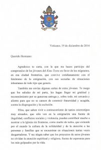 Pope Francis's letter to the KBI and the Kino Teens.