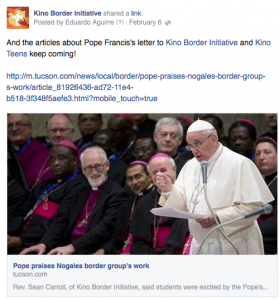 Media coverage of Pope Francis's letter to KBI and Kino Teens