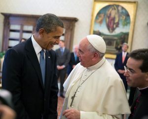 Pope Francis with President Barack Obama, March 2014. Public domain image from Wiki Commons, photo by Pete Souza.