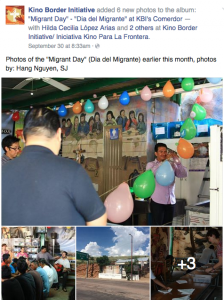 A recent post from Migrant Day/Día del Migrante on the KBI Facebook page.