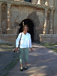 Lucy Howell visiting Tumacacori in Southern Arizona. Photo by Mary Byrne Hoffman.