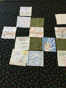Quilt squares from the Walking in Mercy story activity.