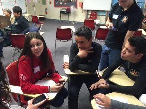 The teens break into groups to discuss ideas for spreading awareness at their schools.