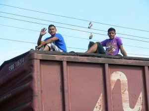 Migrants traveling atop train cars to traverse the length of Mexico (close to 2,000 miles) risk injury or dismemberment en route. This past month, injured migrants called on the U.S. to use its influence in their home countries. Courtesy of Repositorio Peninsula.