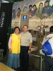 Javier at the comedor with Sister Alicia Guevara Perez, M.E., one of the KBI's Migrant Aid Coordinators.