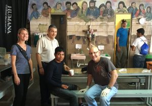 Javier (second from left) with volunteers who administer medical care to the migrants at the comedor.