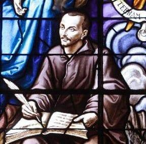 Stained glass window depicting Saint Ignatius.